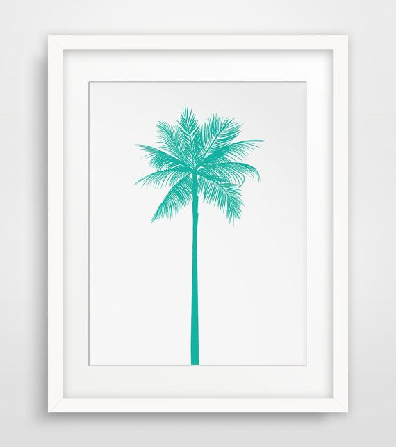 Turquoise Palm Tree Print, Teal Palm Tree, Green Blue Palm Tree Wall Art, Printable Art, Summer Art, California Print, Turquoise, Teal, Aqua on Etsy, $5.00
