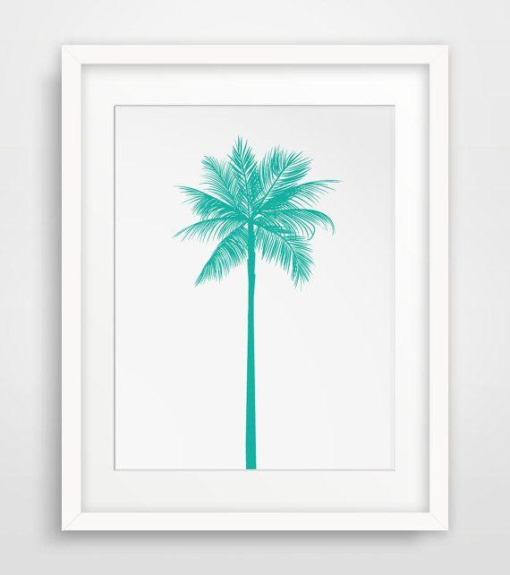 Turquoise Palm Tree Print, Teal Palm Tree, Green Blue Palm Tree Wall Art, Printable Art, Summer Art, California Print, Turquoise, Teal, Aqua