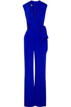 Belted stretch silk jumpsuit