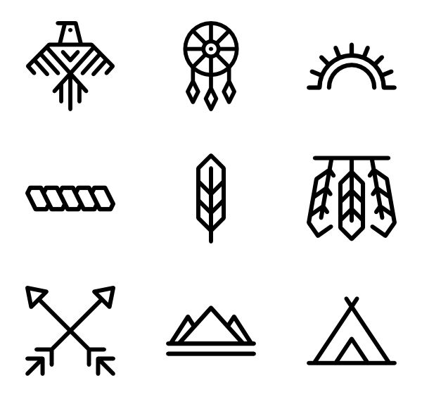 Native American Icons By Eucalyp Studio American Icons Native American Summer Icon