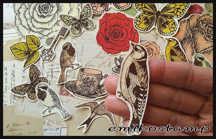24 Vintage Sticker planners Stickers Card Paper DIY Craft Die Cut Vintage Bird