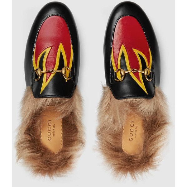 Gucci Princetown Leather Slipper (€705) ❤ liked on Polyvore featuring shoes and…