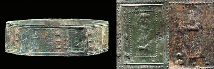 Urartian bronze belt, circa late 8th/early 7th century B.C.  Decorated with a hunting scene, the rectangular terminal panel with an archer atop a feline taking aim with bow and arrow, a winged sun-disc above, with a dotted, palmette, ribbed and guilloche border,  three registers of archers wearing conical helmets, surmounting galloping griffins, horses and felines, with columns of sirens, winged sphinxes and fleeing lions 111 cm, 10 cm high. Private collection