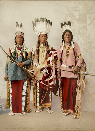 polychrome of Native Americans with great feather head pieces