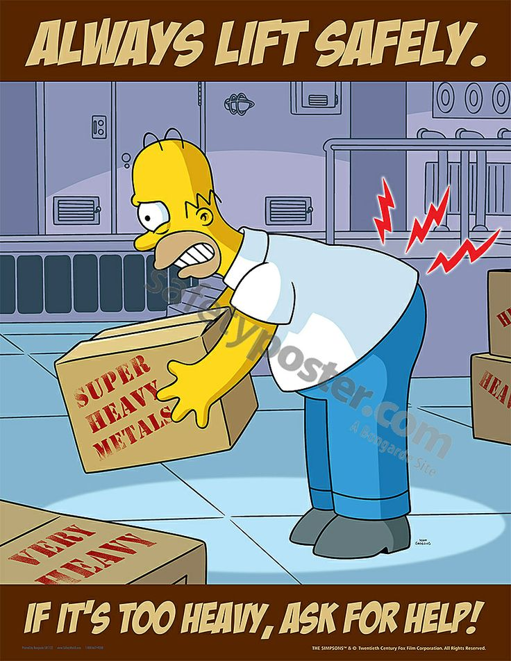Always Lift Safely Simpsons Health, safety poster