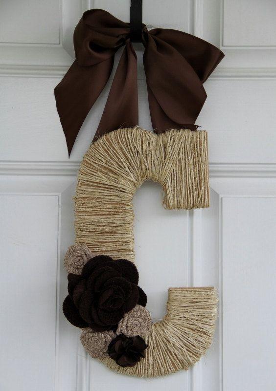 Monogram Twine Wrapped Letter-Front Door Hanger.