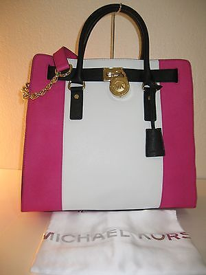 Michael Kors Hamilton Center Stripe Large Tote Bag Raspberry White Black Handbags Pinterest And