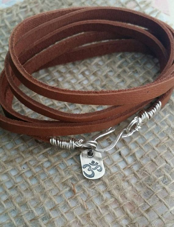 Check out this item in my Etsy shop https://www.etsy.com/ca/listing/479078442/yoga-om-leather-wrap-bracelet-mantra
