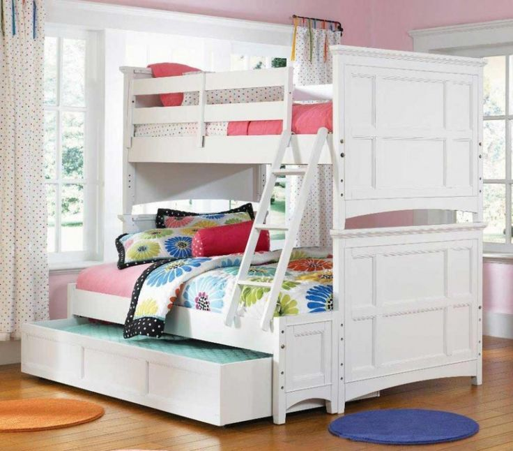 Inspiring Purple Tween Bedroom Design Ideas with Wonderful White Wooden Bunk Bed that have Beautiful Flower Pattern Bedding Accessories and Sweet Small Round Pattern White Window Curtains also Small Round Shaped Rug on the Wooden Flooring for Teenage Girls