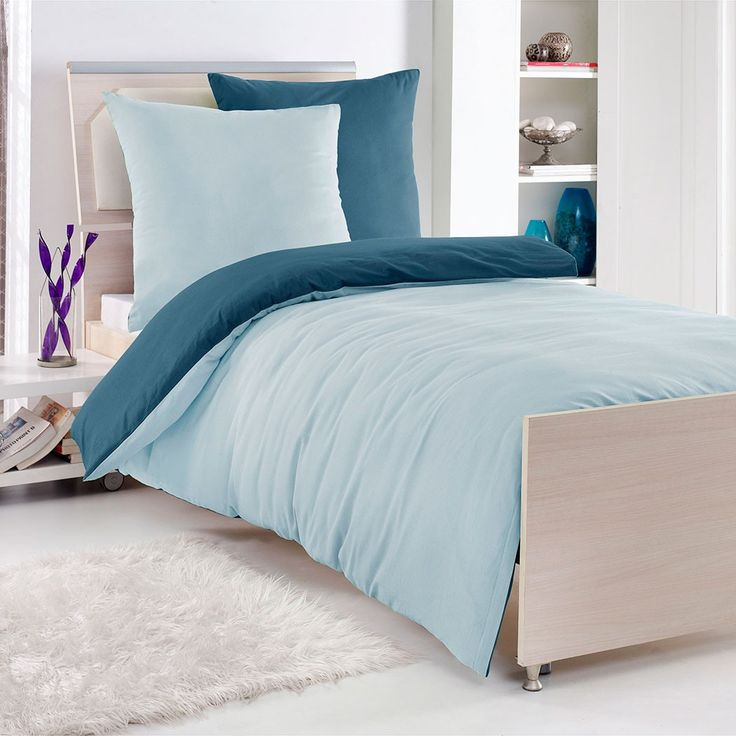 Renforcé Uni Wendebettwäsche aqua/hellblau mit Reißverschluss. Mit zwei Farbtönen in Aqua und Hellblau ist die weiche Bettwäsche, aus reiner Baumwolle, ein unaufdringlich wirkender Blickfang in Ihrem Schlafzimmer.  #bettwäsche #bedding #bedlinen #bedroom #schlafzimmer #wendebettwäsche #blue #blau www.bettwaren-shop.de