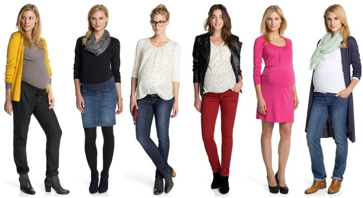 Various mix and match options for a pregnancy wardrobe include jeans, stretch pants, leggings, form fitting dress, maternity tops, cardigans jackets and scarves to accessorise.  Photo credit- esprit.com.au