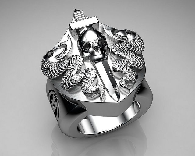Unique Mens Ring Snake and Skull Shield Ring Sterling Silver with Black Diamonds By Proclamation Jewelry by ProclamationJewelry, via Flickr
