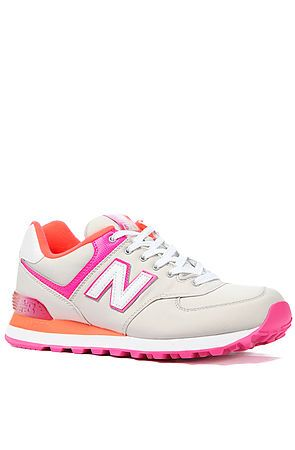 The 574 Classic Sneaker in White, Orange and Pink Neon by New Balance use rep code: OLIVE for 20% off!