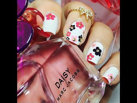 ✿ Marc Jacobs Daisy Inspired Nails (dotting tool or bobby pin!) ✿ - YouTube