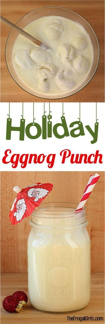 Holiday Eggnog Punch Recipe! ~ from TheFrugalGirls.com ~ Every party deserves a crowd-pleasing punch, and this Holiday Eggnog Punch will be the star of your Thanksgiving Feasts, Christmas Parties, and New Year's Eve Celebrations!  Just 3 ingredients and crazy delicious! #punches #recipes #thefrugalgirls