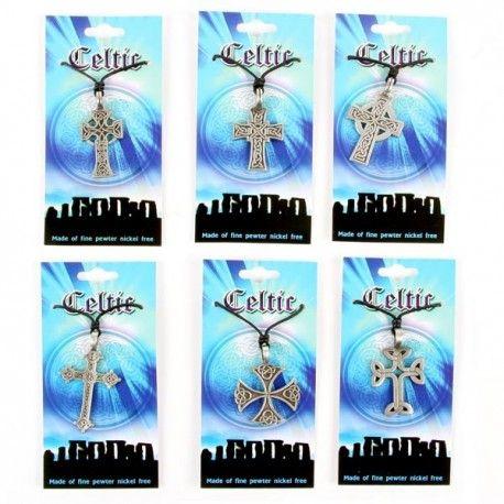 Pendentif en forme de Croix Celtique en étain (6 pièces)