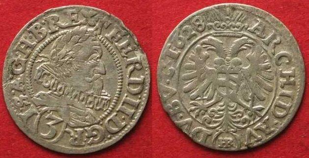 1628 Haus Habsburg RDR - OLMÜTZ Groschen (3 Kreuzer) 1628 FERDINAND II. Silber ERHALTUNG! # 89853 vz