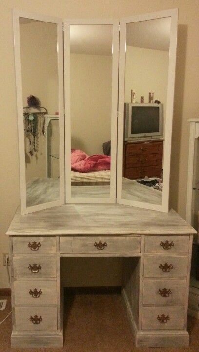 Old desk repainted. DIY three way mirror. = Vanity