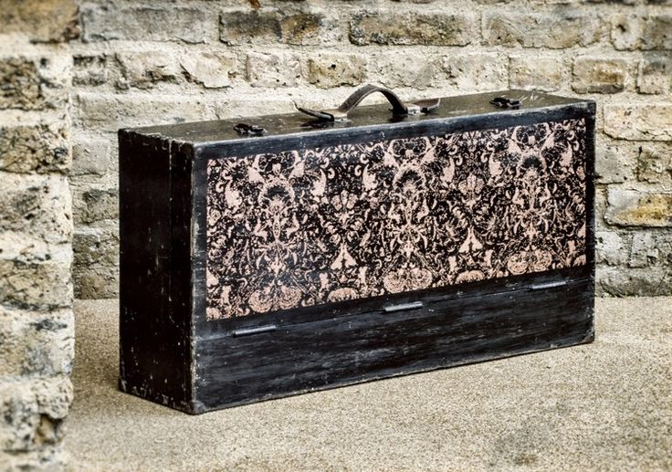 1940s vintage wooden tool box, with original leather handle and hand-crafted interior storage. Reclectic Art Furniture blends modern technology with art history heritage and classic design to create pixilated William Morris patterns on vintage furniture.