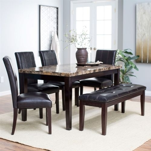 Traditional 6 Pc Dining Set Faux Marble Top Table 4 Chairs Bench Square Dining Room Table Leather Dining Room Chairs Dining Table In Kitchen