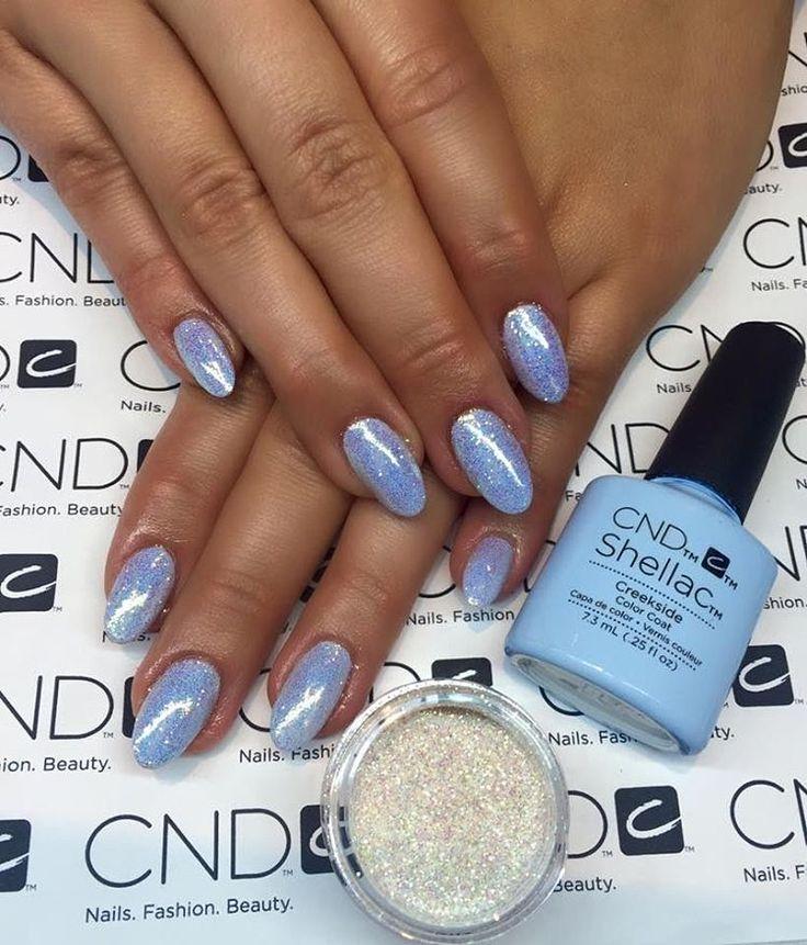 """ @nailsbybjorg  _____________________________________ #babyblue#glitter#nails#cnd#shellac"""