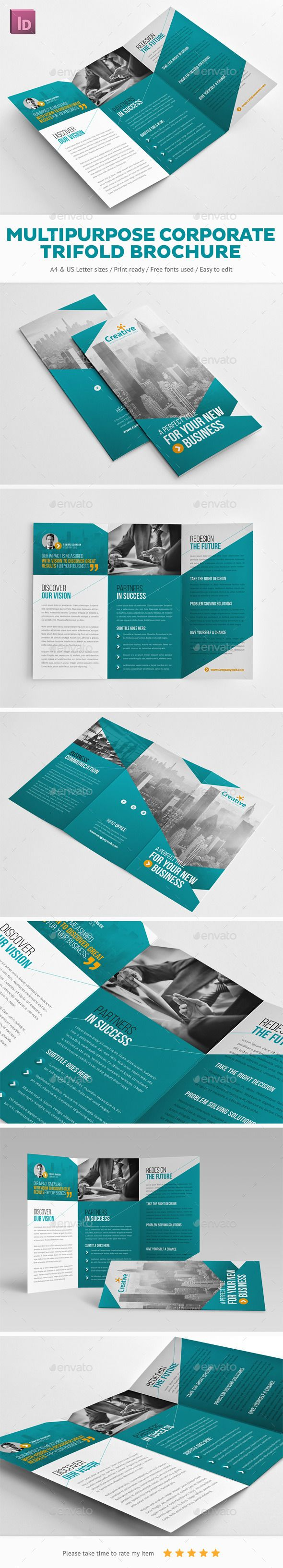 Multipurpose Corporate Trifold Brochure Template #design Download: http://graphicriver.net/item/multipurpose-corporate-trifold-brochure/11928054?ref=ksioks