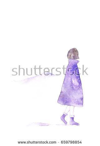 Winter girl. Watercolor girl and mountains.  @knyshksenya