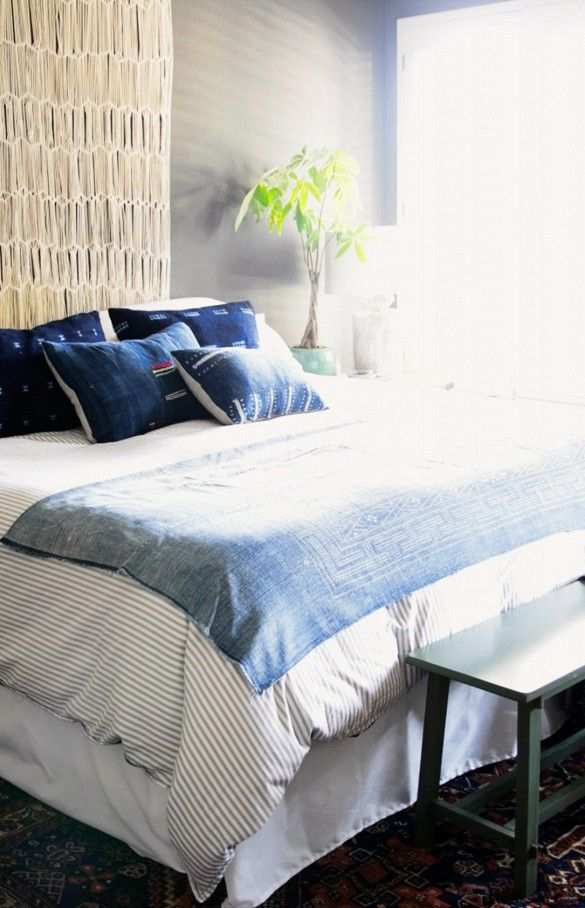 Amber Lewis of Amber Interiors keeps her bedroom simple and relaxing in shades of blue