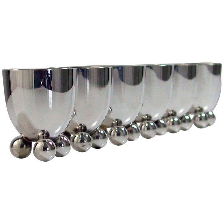 Six WMF Art Deco Silver Plate Egg Cups by Fritz August Breuhaus de Groot | 1stdibs.com