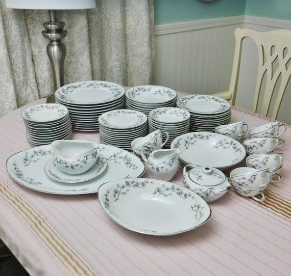 90 Pc Meito China Silver Pine 738 Service For 12 Dinnerware Set Serving Bowls Platter Gravy Boat Sugar Creamer Christmas Dishes Dinnerware Set Dinnerware Service for 12 dinnerware sets
