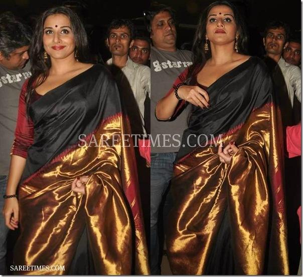 Vidya Balan in a beautiful black, gold Saree