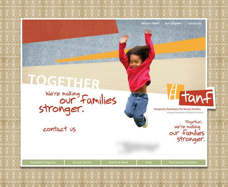 Virginia's Temporary Assistance for Needy Families (TANF) program provides temporary cash assistance to families in need to end the dependence of needy parents on government benefits by promoting job preparation and work. Apply online at: https://commonhelp.virginia.gov/access/