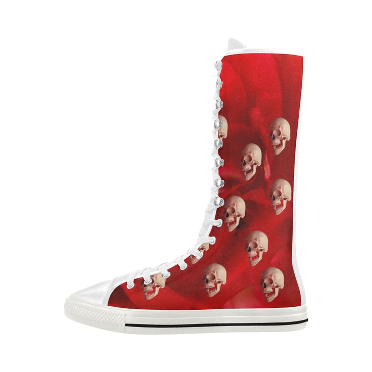 Funny Skulls and Red Rose Canvas Long Boots For Women Model 7013H