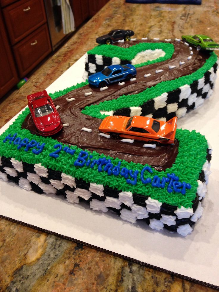 Cars happy birthday cake for two year old - used matchbox cars on top ...
