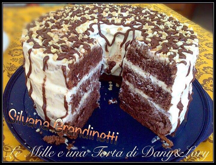 CHIFFON CAKE AL CACAO CON DOPPIA CREMA, CHANTILLY-MANDORLA E NUTELLA