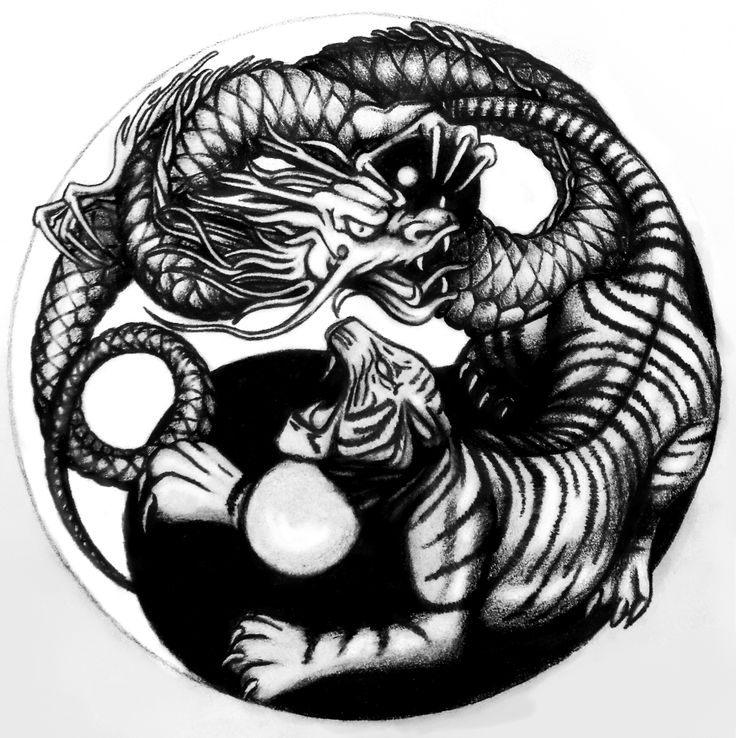 """Yin Yang"" #Tigre y Dragón Dibujo para tatoo Lápiz de grafito 21x23cm Año 2014/15"