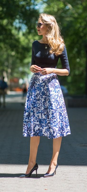 milly periwinkle blue and navy floral full midi skirt, classic navy pumps, navy boatneck top, silver monogram necklace + white tweed cropped jacket {@nordstrom}