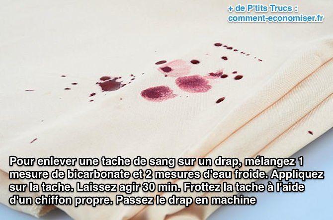 Pour enlever une tache de sang sur un drap blanc, utilisez du bicarbonate de soude