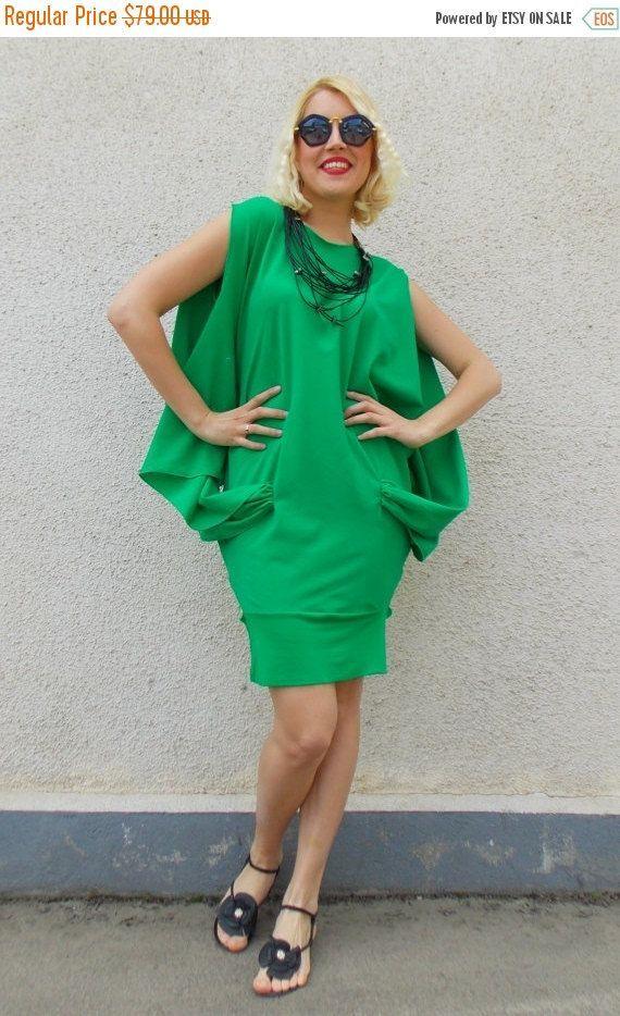 ON SALE 30% OFF Green Summer Dress / Cotton Summer Dress / Fashionable Cotton Dress / Stylish Summer Dress Tdk120
