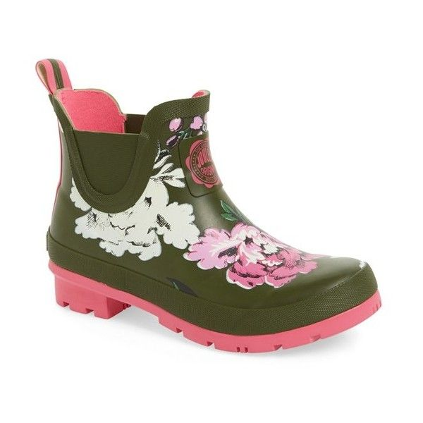 Women's Joules 'Wellibob' Short Rain Boot (56 CHF) ❤ liked on Polyvore featuring shoes, boots, ankle booties, ankle boots, grape leaf floral, wellies boots, patterned rain boots, floral print boots, bootie boots and rubber boots