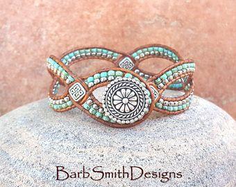 Perline d'argento turchese Bracciale Wrap in pelle - d' Vine uno in turchese - personalizzarlo!