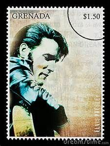... postage stamp printed in Grenada showing Elvis Presley, circa 2000