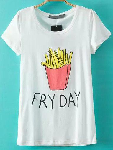T-shirt avec matches courtes imprimé frites français  col rond - blanc -French SheIn(Sheinside)