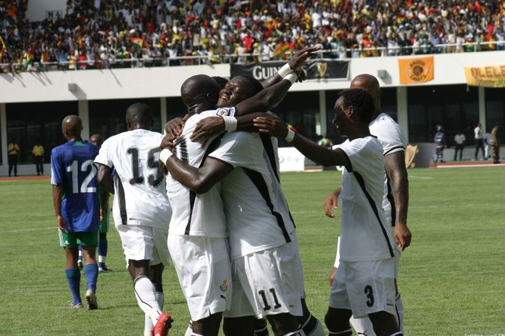 Black Stars Goal Celebration (Ghana national football team).//Black Stars goal celebration; football is the most popular sport in Ghana.