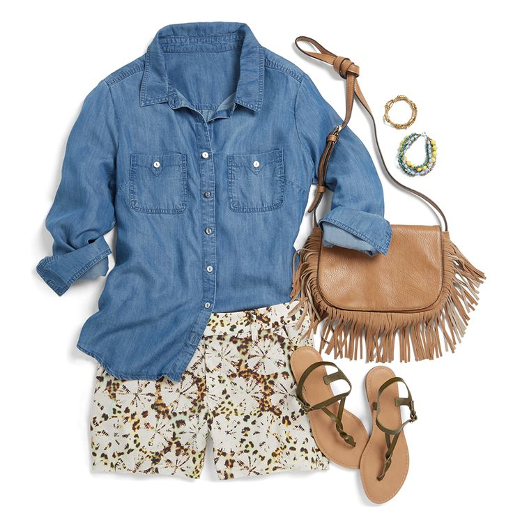A classic chambray button up is the perfect canvas for fun prints! Get a little adventurous by pairing this go-to staple with a pair of fun printed shorts. Stay on-trend with a fringed crossbody bag and don't forget a colorful arm party!