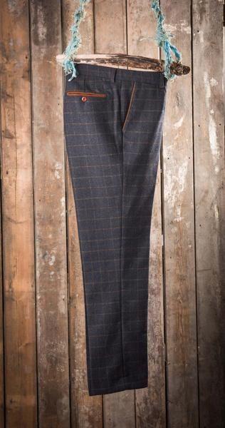 Marc Darcy Harris Heritage Tweed Suit Trousers - Navy Blue - Master Debonair