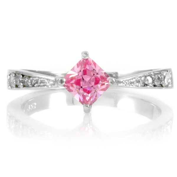 Emitations Elisa's Promise Ring - Pink Princess Cut CZ