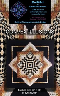 "Convex Illusions is a very easy quilt pattern using strip piecing and simple construction techniques. The combination of shapes and shades creates the dramatic 3D optical illusion. This is the same quilt as ""Poppin' In"", with the center created in reverse. This quilt pattern is for the confident beginner."