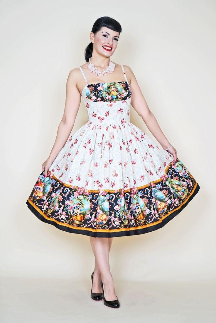 Paris Dress in Manor print in Cream and Black - Bernie Dexter