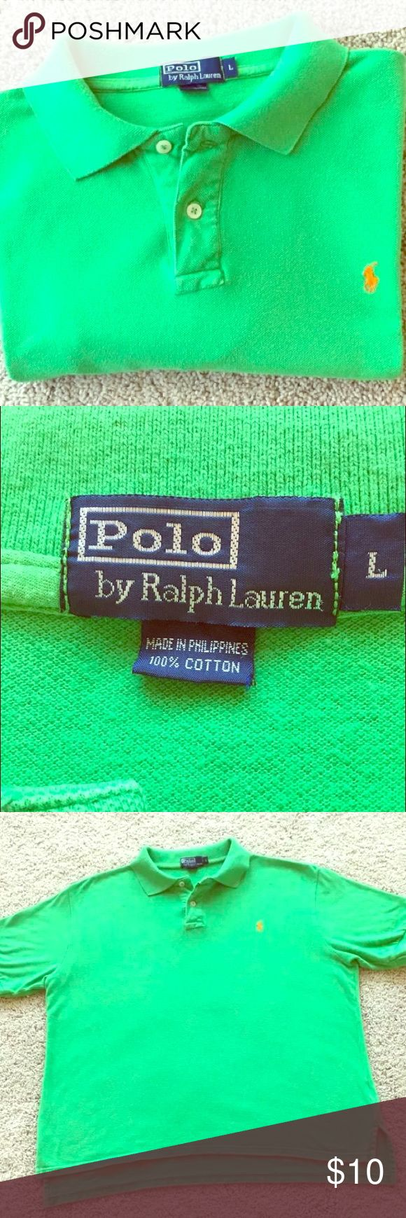 Ralph Lauren green polo shirt men In good condition, no stain or holes. Ralph Lauren green polo shirt Classic Fit Size large Two-buttons placket. Short sleeves with ribbed armbands Tennis tail: uneven hem that helps to keep the shirt in place when tucked in. Signature embroidered pony at the left chest. 100% cotton. Machine washable. Imported. Polo by Ralph Lauren Shirts Polos